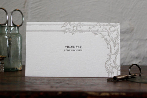"Letterpress Notecard - ""Thank you again and again"""