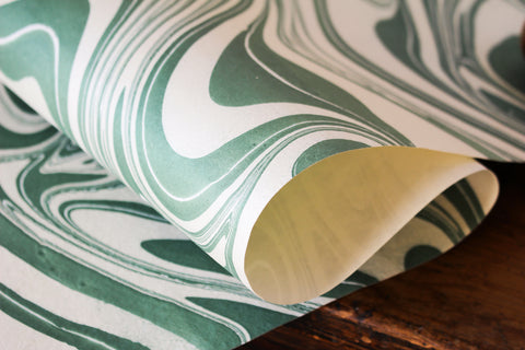 Craft Boat Marbled Gift Wrap - Soft Green
