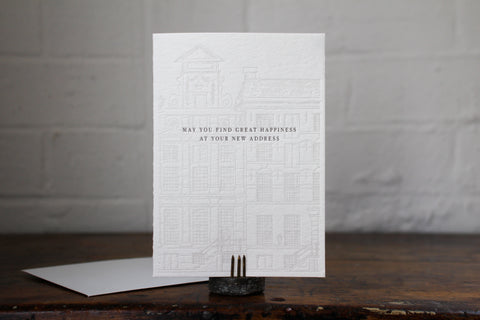 "Letterpress Greeting Card - ""May you find great happiness at your new address"""