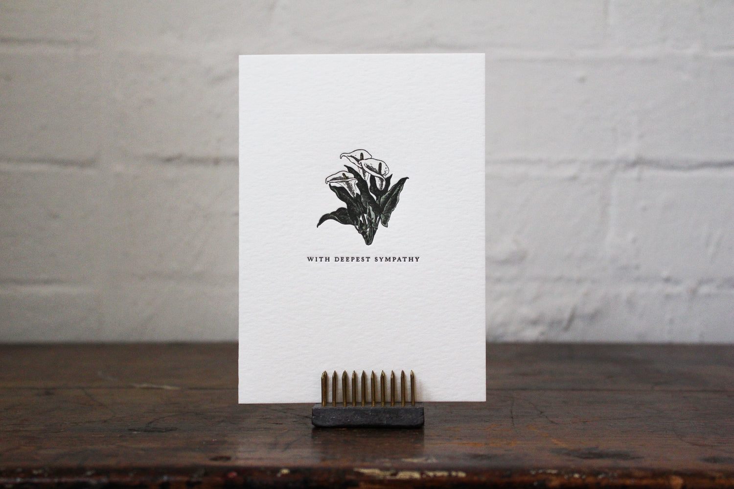 "Letterpress Greeting Card - ""With deepest sympathy"""