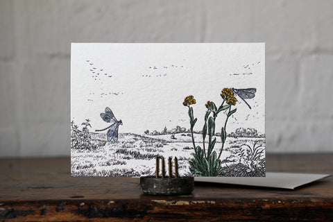 Letterpress Notecard - Dragonflies