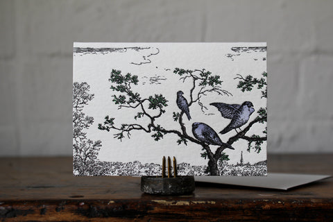 Letterpress Notecard - Birds in Tree