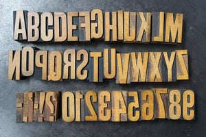 Printer's Wood Type Alphabet & Number Set