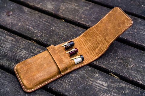 Galen Leather Three Pen Flap Pen Case - Crazy Horse Brown