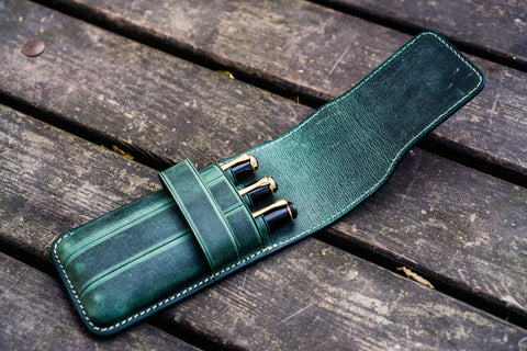 Galen Leather Three Pen Flap Pen Case - Crazy Horse Forest Green