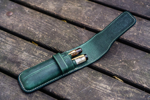 Galen Leather Two Pen Flap Pen Case - Crazy Horse Forest Green