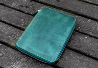 Galen Leather A5 Leather Notebook Folio - Crazy Horse Forest Green