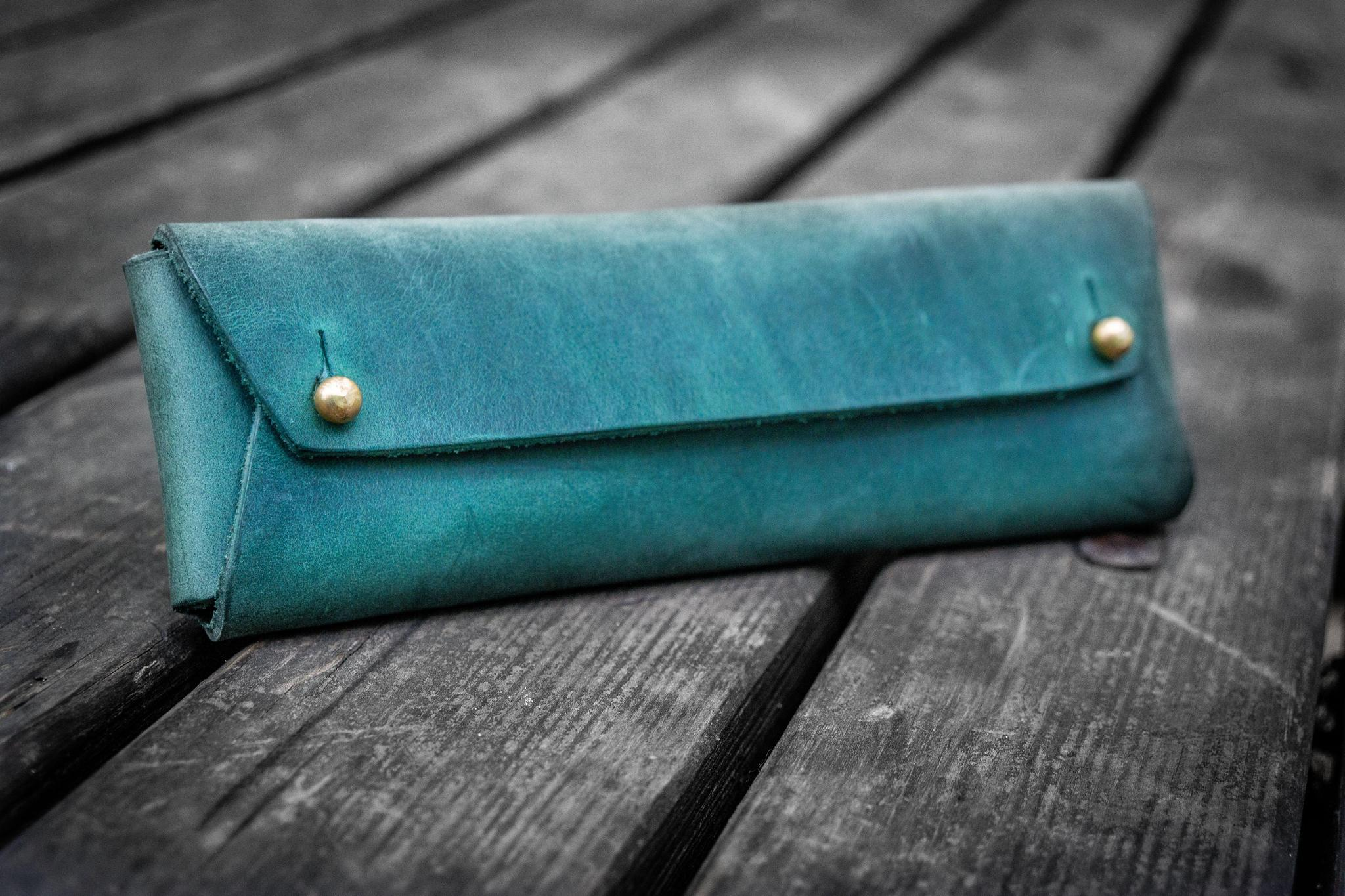 Galen Leather The Student Pencil Case - Crazy Horse Forest Green