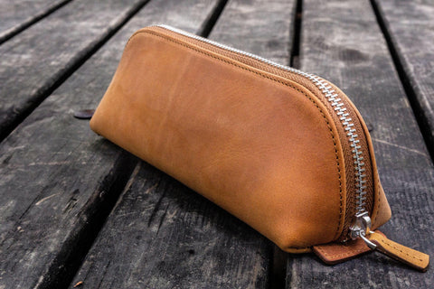 Galen Leather XLarge Zipper Pencil Case - Crazy Horse Brown