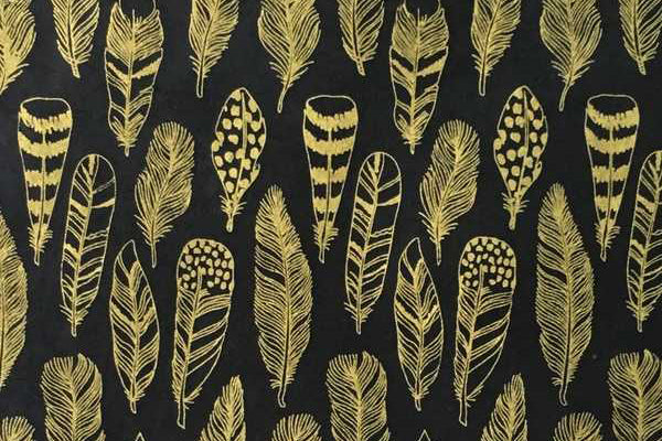 Lokta Gift Wrap - Feathers Gold/Black