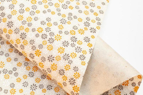 Lokta Gift Wrap - Small Flower Natural/Grey