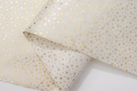 Lokta Gift Wrap - Stars Gold/Natural