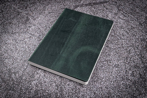 Galen Leather A6 Leather Notebook - Crazy Horse Forest Green