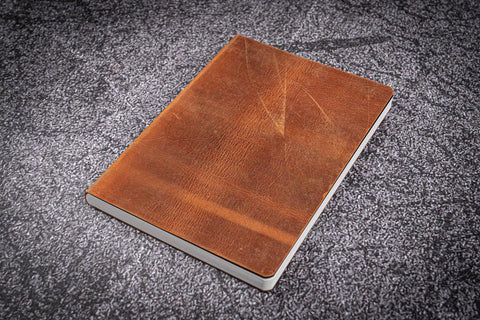 Galen Leather A5 Leather Notebook - Crazy Horse Brown