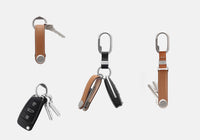 Orbitkey Leather Key Organiser - Stone/Stone
