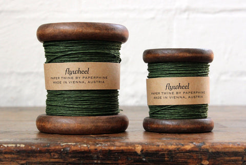 Paperphine Paper Twine on Wooden Spool - Dark Green