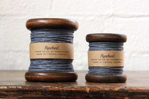 Paperphine Paper Twine on Wooden Spool - Grey Blue