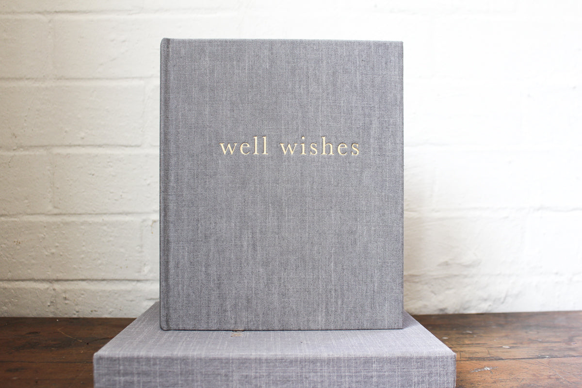 Write To Me Well Wishes Guest Book - Grey Boxed