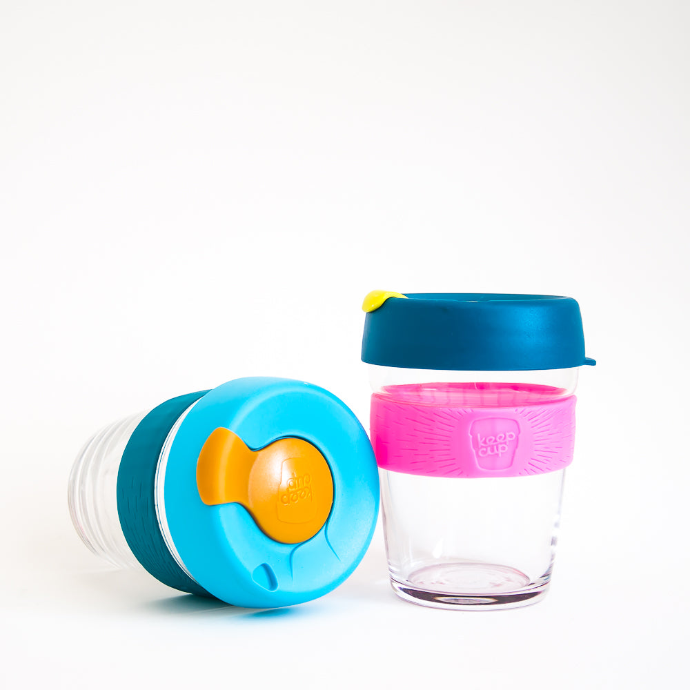 Reusable Glass and Silicone Coffee Cup - 12oz