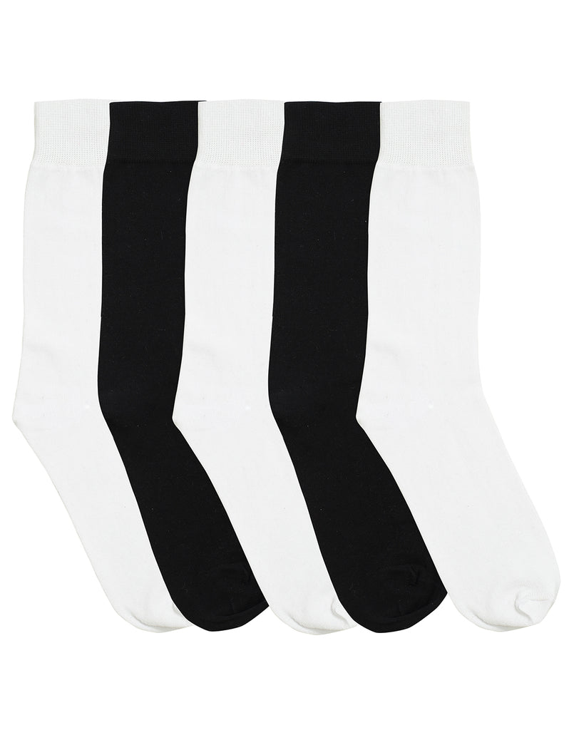 5 PK Crew Sock Basic Black/White - Black/White