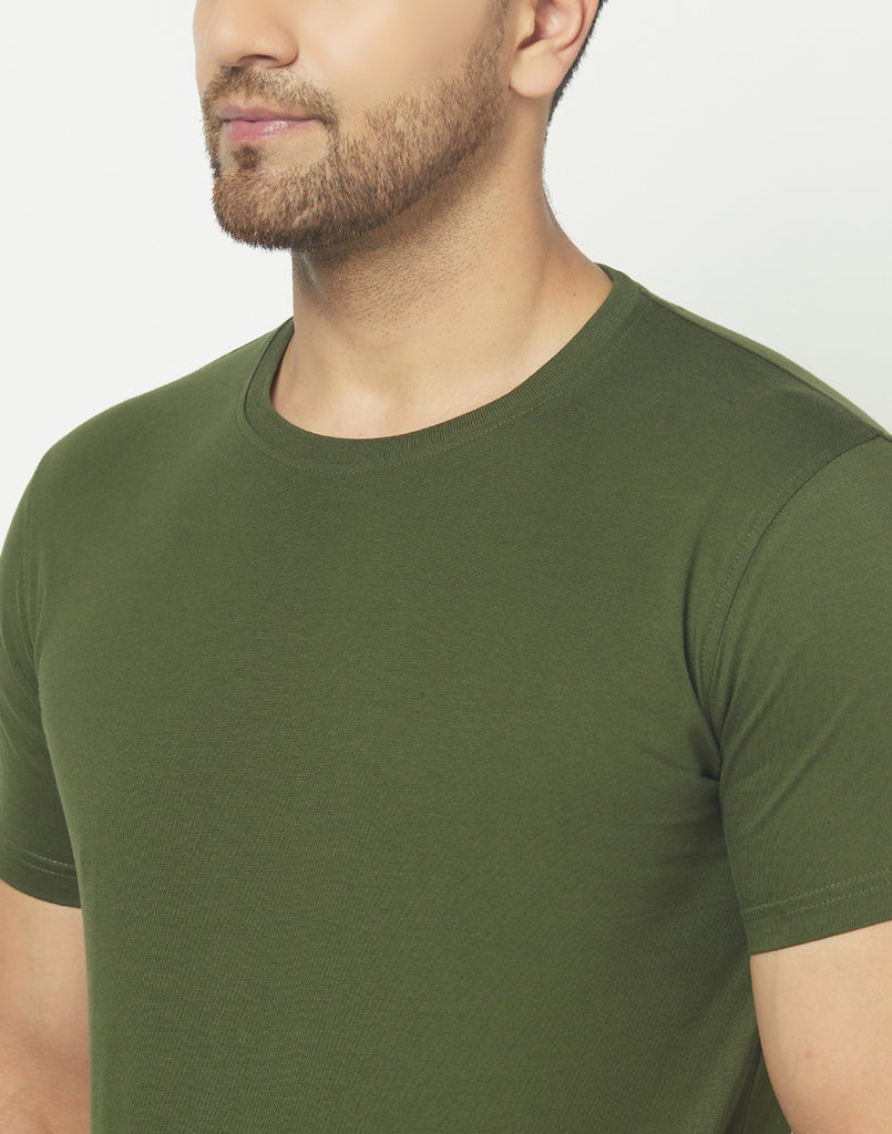 Crew-Neck Olive Green T-shirt