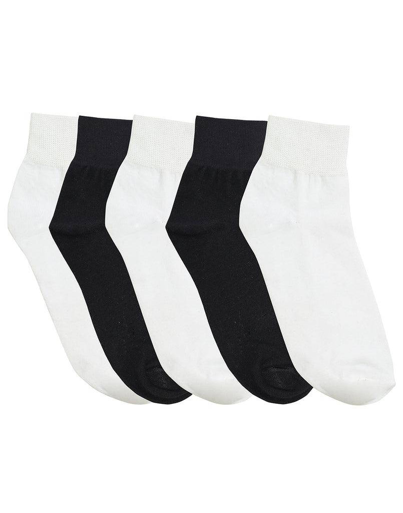 5 PK Low Cut Basic Black/White Socks