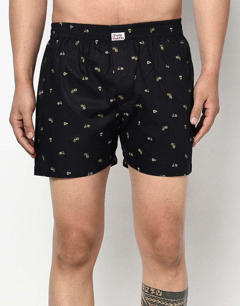 BLACK BICYCLE PRINT BOXER