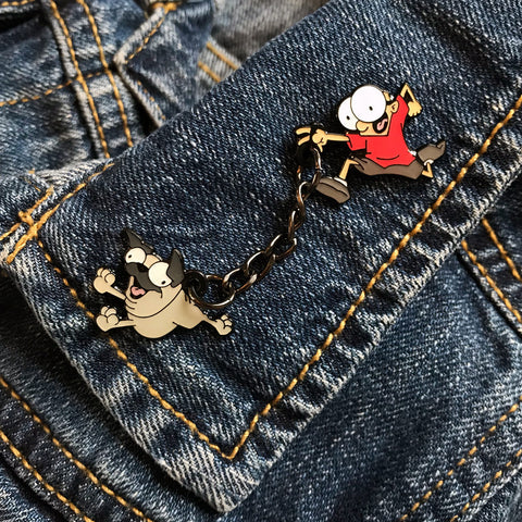 """Sheldon and Oso"" Enamel Pin"