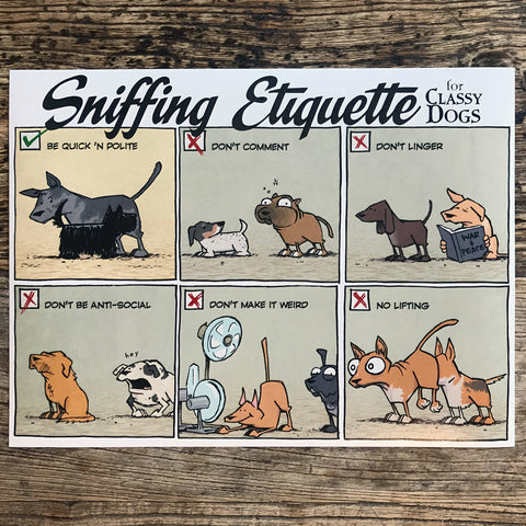 """Sniffing Etiquette for Classy Dogs"" Poster"