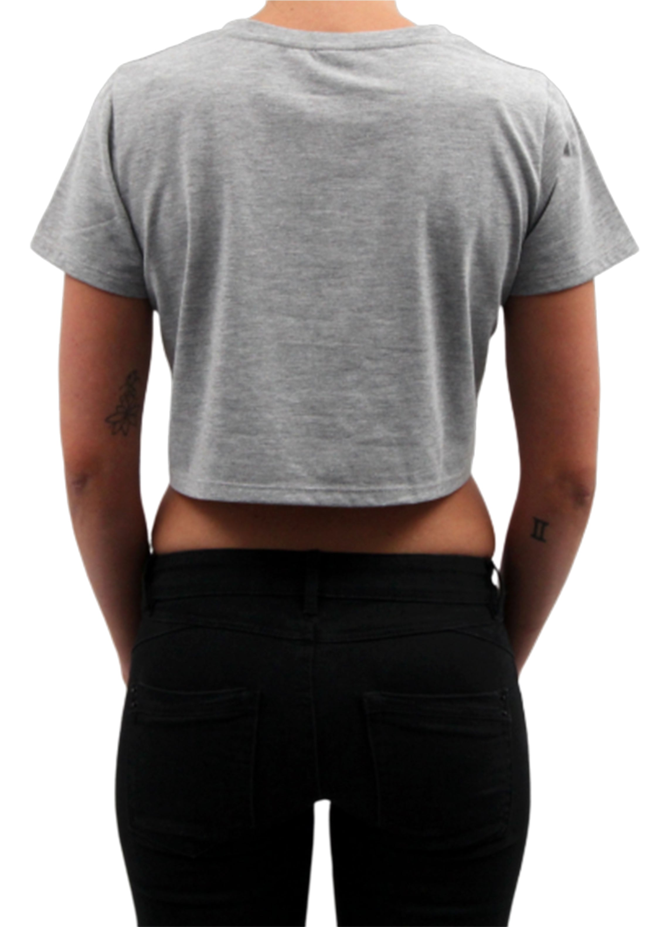 Frauen Crop Top Basic Grau