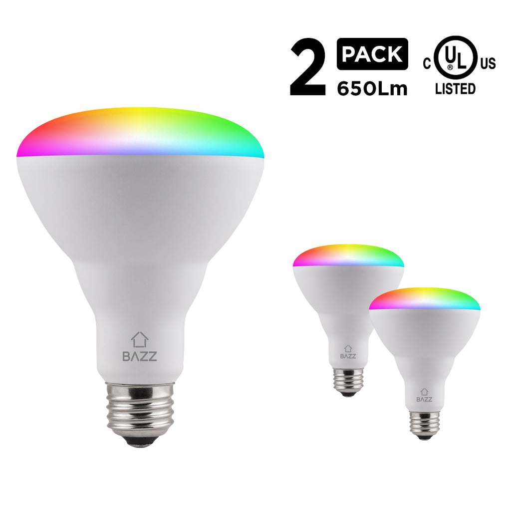 BR30 Smart WiFi RGB LED Bulb (2-Pack) - BAZZ Smart Home.ca