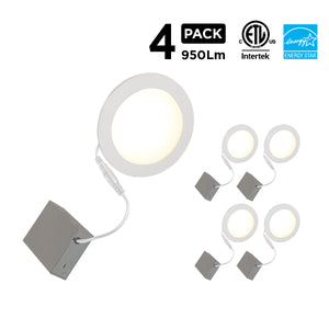 "6"" Smart WiFi White LED Recessed Light Fixture (4-Pack) - BAZZ Smart Home.ca"