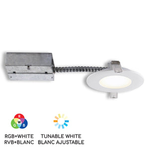 "4"" Smart Wifi RGB LED Recessed Light Fixture - White (SLMR4RGBWWFW) - BAZZ Smart Home.ca"