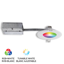 "Load image into Gallery viewer, 4"" Smart Wifi RGB LED Recessed Light Fixture - White (SLMR4RGBWWFW) - BAZZ Smart Home.ca"