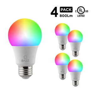 A19 Smart Wi-Fi RGB LED Bulb (4-Pack) - BAZZ Smart Home.ca