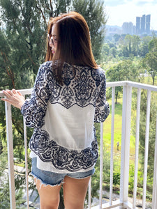 Selina Blue Embroidery Top