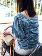 Load image into Gallery viewer, Vivi Ruched Denim Top