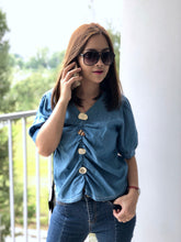 Load image into Gallery viewer, Valyn Button Denim Top