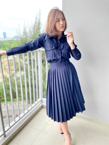 Hexl MIlitarion Wrap Dress - Blue