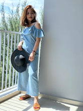 Load image into Gallery viewer, Ian Ruffles Culottes Denim Jumpsuit