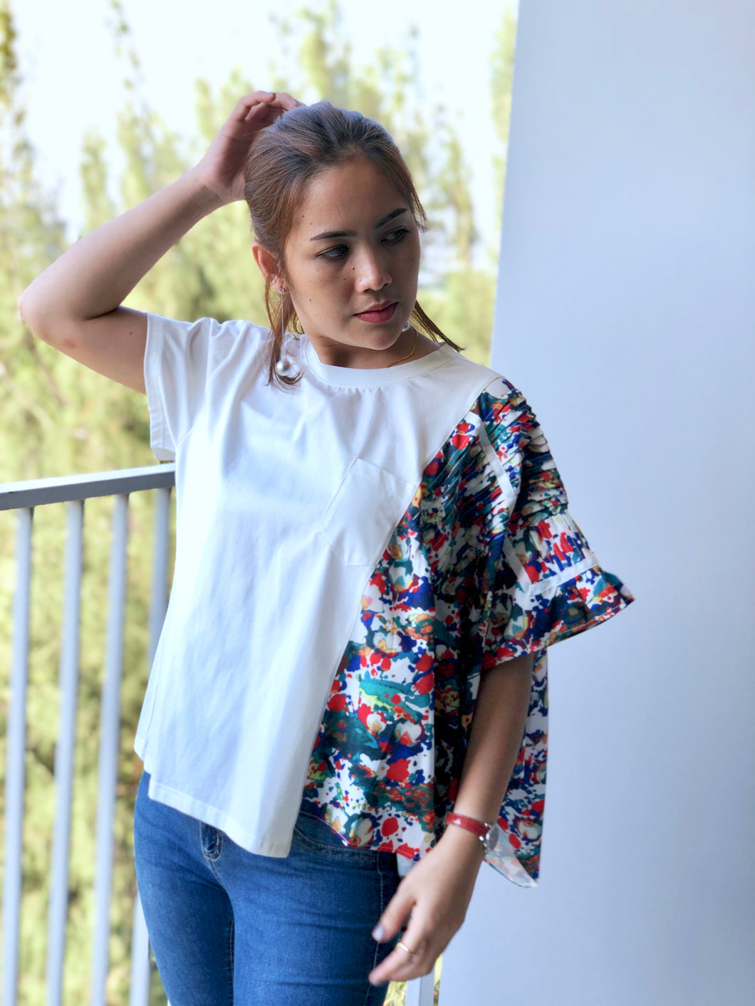 Ava Top With Printed Flair