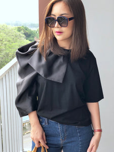 Auxy Sided Puffy Sleeve Top