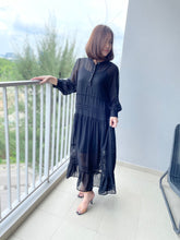 Load image into Gallery viewer, Irabia Black Maxi Chiffon Dress
