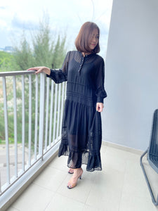 Irabia Black Maxi Chiffon Dress