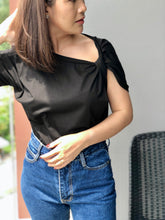 Load image into Gallery viewer, Moss Twisted Sleeve Top - Black
