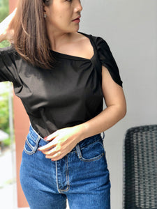 Moss Twisted Sleeve Top - Black