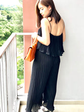 Load image into Gallery viewer, Loytee Pleated Frills Jumpsuit -Black