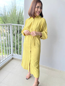 Idalia Mustard Button Down Dress