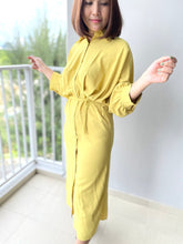 Load image into Gallery viewer, Idalia Mustard Button Down Dress
