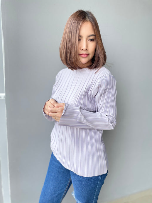 Prish Pleated Top - Silver